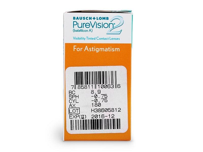 PureVision 2 for Astigmatism (6komleća) - Pregled parametara leća