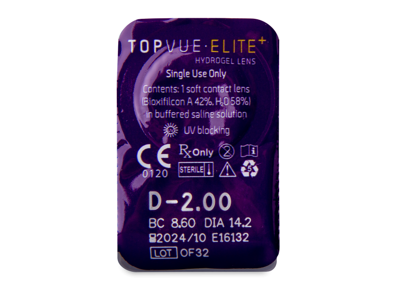 TopVue Elite+ (10 kom leća) - Pregled blister pakiranja