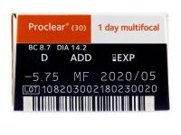 Proclear 1 Day multifocal (30komleća) - Pregled parametara leća
