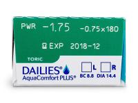 Dailies AquaComfort Plus Toric (30komleća) - Pregled parametara leća