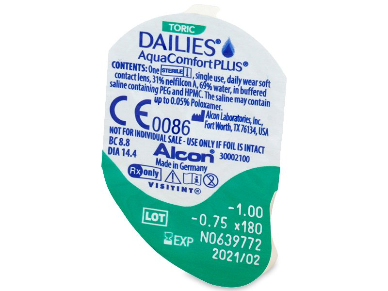 Dailies AquaComfort Plus Toric (90komleća) - Pregled blister pakiranja