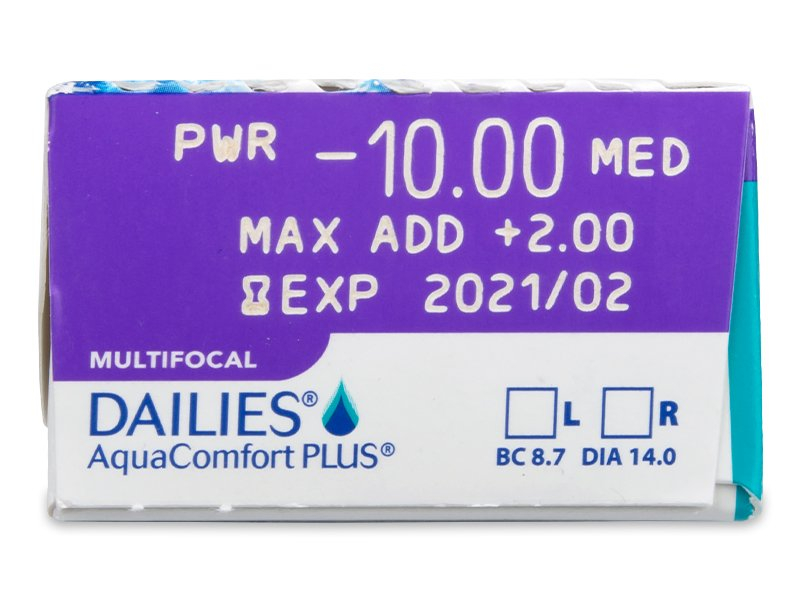 Pregled parametara leća - Dailies AquaComfort Plus Multifocal (30komleća)