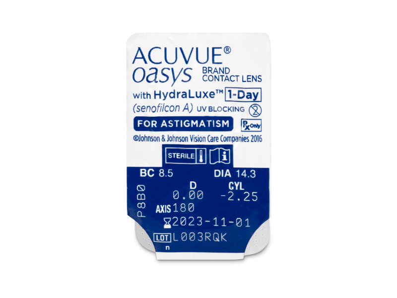 Pregled blister pakiranja  - Acuvue Oasys 1-Day with HydraLuxe for Astigmatism (30 leća)