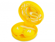 Kutije za leće s ogledalom - Kutija s ogledalom – ornamentno žuta