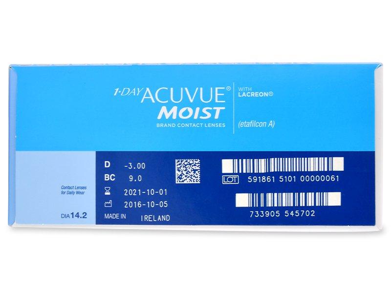 1 Day Acuvue Moist (180leća) - Pregled parametara leća