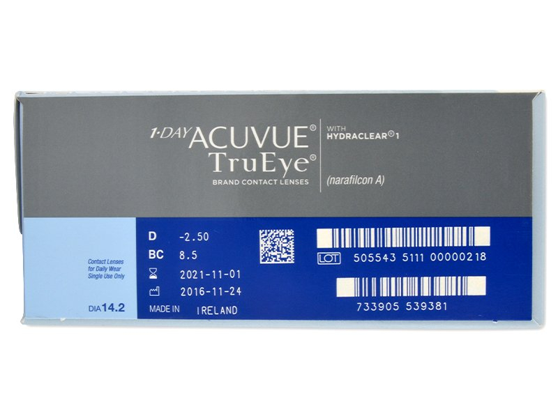 Pregled parametara leća - 1 Day Acuvue TruEye (180komleća)