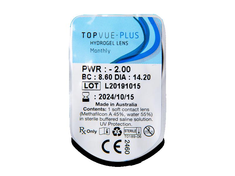 TopVue Plus (6 kom leća) - Pregled blister pakiranja