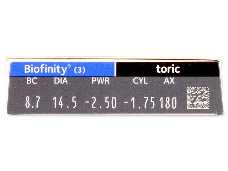 Biofinity Toric (3komleća) - Pregled parametara leća