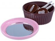 Kutije za leće s ogledalom - Kutija s ogledalom Muffin - roza