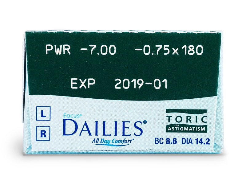 Focus Dailies Toric (30komleća) - Pregled parametara leća