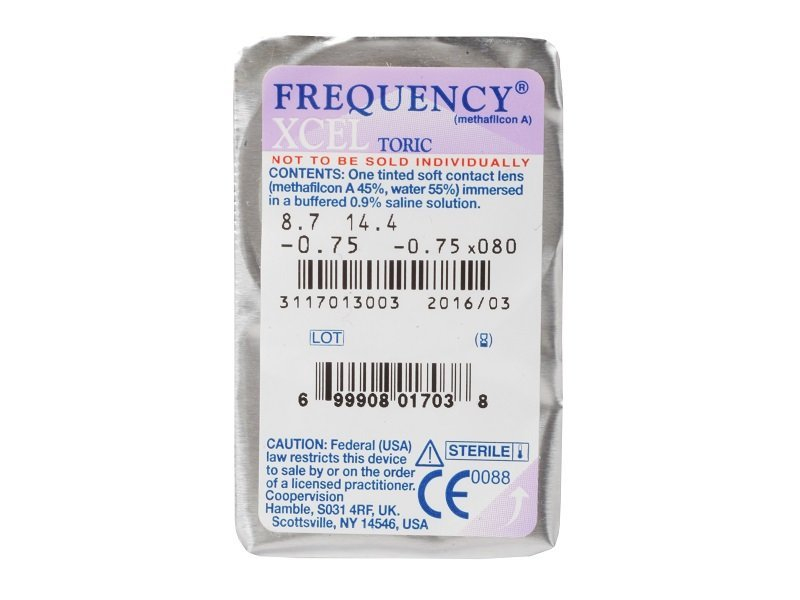 FREQUENCY XCEL TORIC (3komleća) - Pregled blister pakiranja